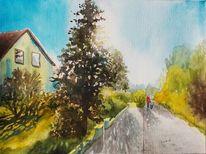 Hund, Haus, Straße, Baum
