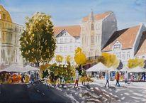 Stadt, Baum, Kaffee, Marktplatz