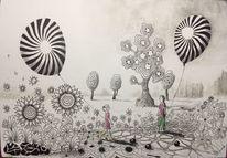 Landschaft, Weite, Luftballon, Blumen