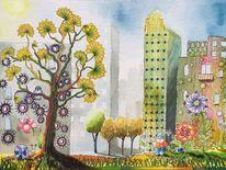 Stadt, Baum, Hochhaus, Garten