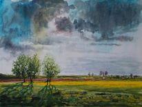 Marsch, Wolken, Himmel, Landschaft