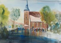 Menschen, Kirche, Baum, Versammlung