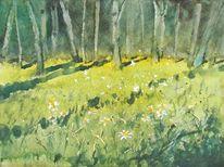 Wald, Wiese, Blumen, Grün
