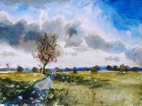 Wiese, Wolken, Spaziergänger, Weite