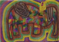 Elefant, Gelb, Afrika, Menschen