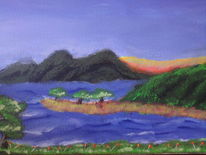 Acryllandschaft, See, Acrylmalerei, Landschaft