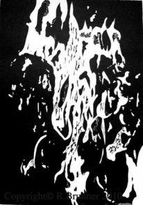 Schwarz weiß, Grafik, Lino gravure, Linol