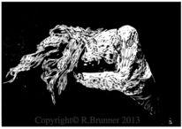 Schwarz weiß, Linol, Druckgrafik, Linolschnitt