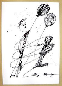 Kinder, Zeichnen, Federzeichnung, Schwarz weiß
