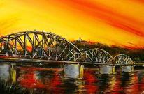 Eisenbahnbrücke, Kirche, Städtchen, Wasser