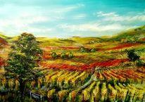 Wein, Rebe, Hügel, Baum
