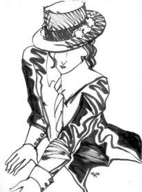 Kalligrafie, Federzeichnung, Figur, Japanisch