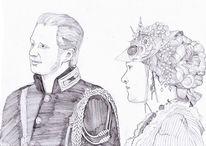Zeichnung, Portrait, Paar, Steampunk