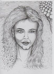 Tusche, Gesicht, Rapidograph, Zeichnungen