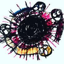 Hände, Mund, Augen, Malerei