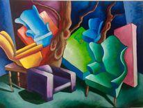 Möbeln, Bäume, Malerei, Ausdrucksmalerei