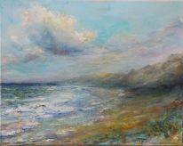 Meer, Stimmung, Küste, Acrylmalerei