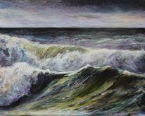 Landschaftsmalerei, Brandung, Malen, Acrylmalerei