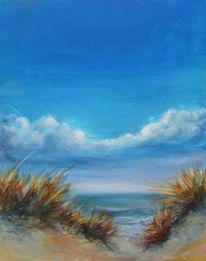 Acrylmalerei, Wolken, Landschaft, Meer