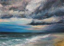 Landschaft, Wolken, Acrylmalerei, Meer