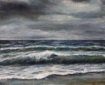 Küste, Wolken, Malerei, Wasser