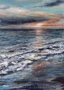 Abendrot, Meer, Malerei, Sonnenuntergang