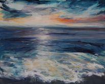 Sonnenuntergang, Abend, Wasser, Meer
