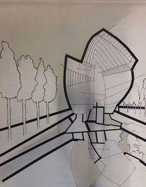 Klebeband, Druckfarbe, Architektur, Landschaft