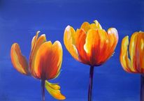 Blumen, Blau, Frühling, Malerei