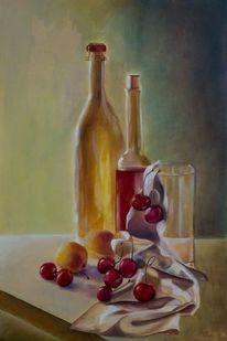 Malerei, Gegenständlich, Ölmalerei, Flasche