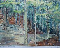 Wald berg, Pyrmont, Landschaft, Aquarell