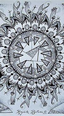 Spirituell, Mandala, Blumen, Schwarzweiß