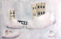 Schloss, Wolken, Fantasie, Aquarell