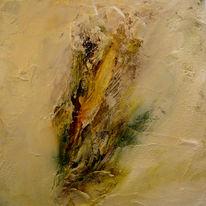 Orange, Strukturpaste, Pflanzen, Acrylmalerei