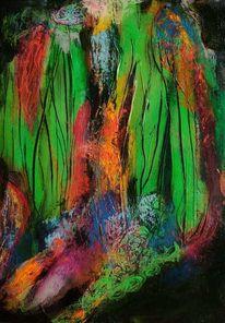 Pastellmalerei, Experimentell, Wasserfall, Expressionismus