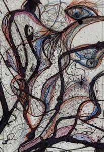 Zeichnung, Formen, Figur, Tuschmalerei