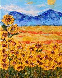 Blumen, Acrylmalerei, Berge, Sonnenblumen
