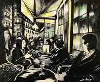 Acryl auf leinwand, Café, Frankreich, Nacht