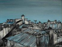 Stadt, Frankreich, Acryl auf leinwand, Malerei