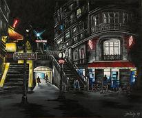 Straße, Acryl auf leinwand, Frankreich, Café
