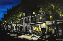 Café, Frankreich, Acryl auf leinwand, Impressionismus