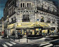 Malerei, Paris, Rue, Acryl auf leinwand