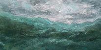 Grün, Berge, Acrylmalerei, Panorama