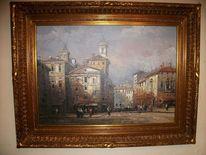 Schön, Ölmalerei, Malerei, Straßenszene