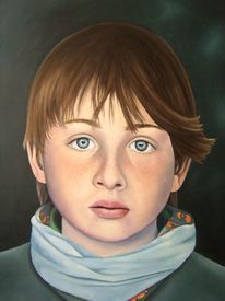 Portrait, Augen, Malerei, Blick