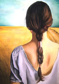 Frau, Horizont, Feld, Malerei