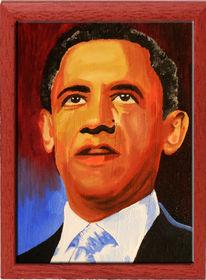 Acrylmalerei, Portrait, Barack obama, Popart