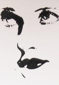 Schwarz weiß, Bette davis, Augen, Acrylmalerei