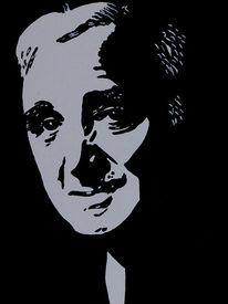 Sänger, Portrait, Aznavour, Popart