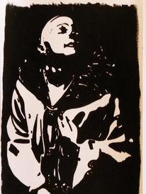Malerei, Schwarz weiß, Acrylmalerei, Harlekin